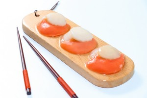 Sea scallops roe on